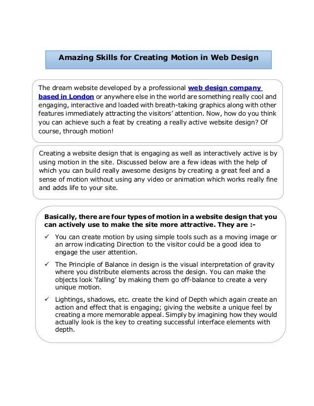 Amazing Skills for Creating Motion in Web Design