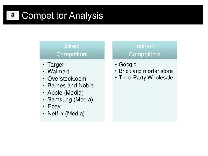 amazons competitive analysis essay The swot analysis of amazon discusses  due to extensive delivery network & price wars amazons  this will help them make profits in highly competitive e .