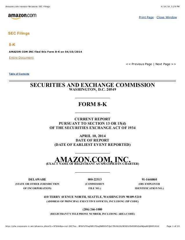 4/14/14, 5:29 PMAmazon.com Investor Relations: SEC Filings Page 1 of 20http://phx.corporate-ir.net/phoenix.zhtml?c=97664&p...