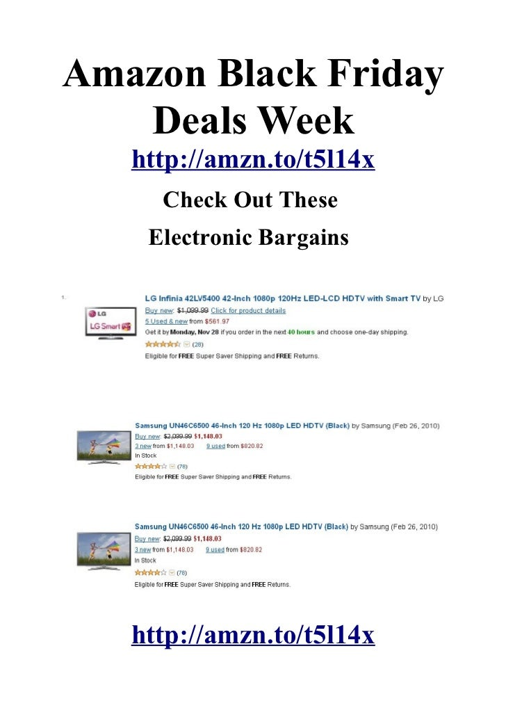 Amazon Black Friday   Deals Week   http://amzn.to/t5l14x     Check Out These    Electronic Bargains   http://amzn.to/t5l14x