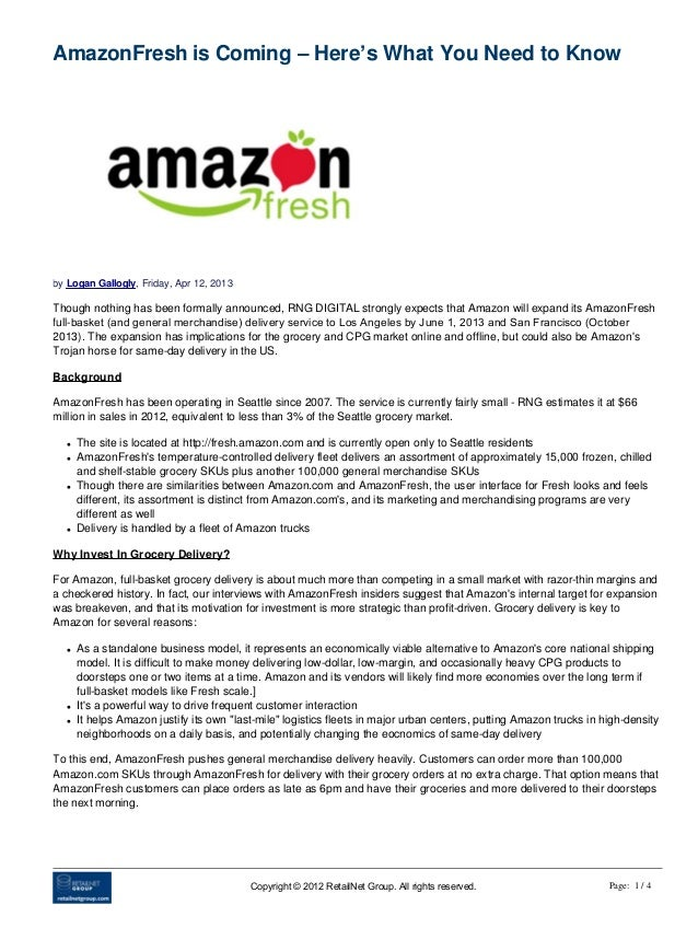 AmazonFresh is Coming – Here's What You Need to Knowby Logan Gallogly, Friday, Apr 12, 2013Though nothing has been formall...