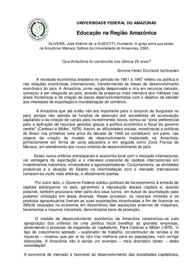 UNIVERSIDADE FEDERAL DO AMAZONAS  Educação na Região Amazônica OLIVEIRA, José Aldemir de. e GUIDOTTI, Humberto. A igreja a...