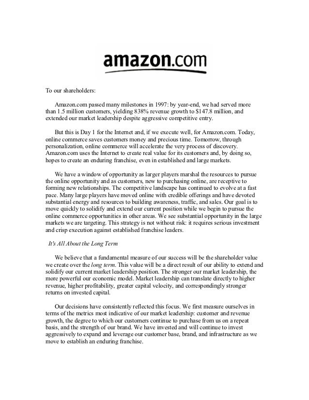 To our shareholders:    Amazon.com passed many milestones in 1997: by year-end, we had served morethan 1.5 million custome...