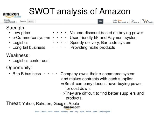 swot analyses on amazon com 2011 Swot analysis of amazoncom strengths 1 size amazon is the 29th largest publicly traded company in the united states and has a value of $4231 billion and in may 2017 reported $136 billion in sales (forbes, 2017) the amount represented a 25 percent growth in sales which corresponded with an increase in amazon's market.