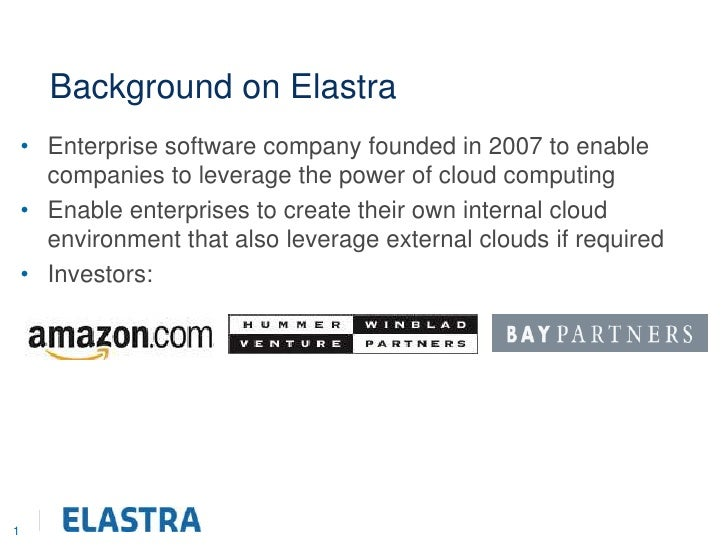 1<br />Background on Elastra<br />Enterprise software company founded in 2007 to enable companies to leverage the power of...