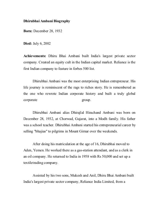 Dhirubhai Ambani Biography Born: December 28, 1932 Died: July 6, 2002 Achievements: Dhiru Bhai Ambani built India's larges...