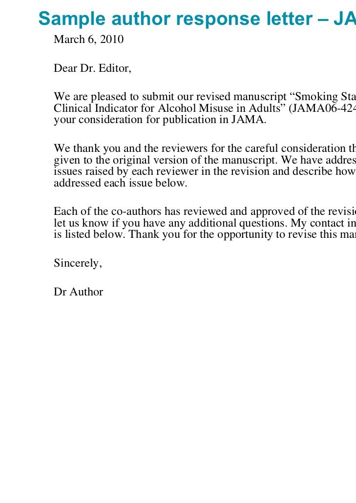 cover letter for a revised manuscript