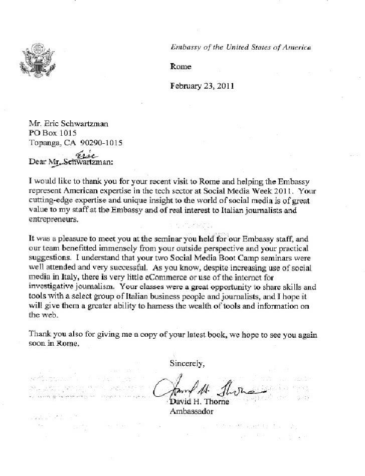 Letter Ambassador David H. Thorne