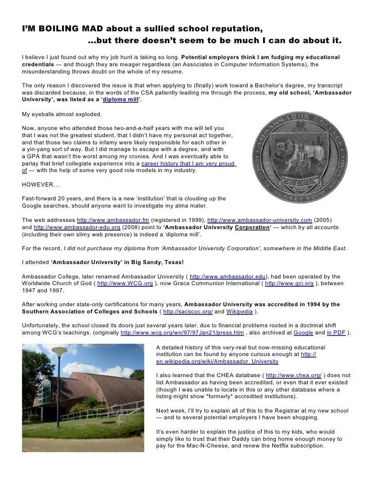 Ambassador.edu Degree Question