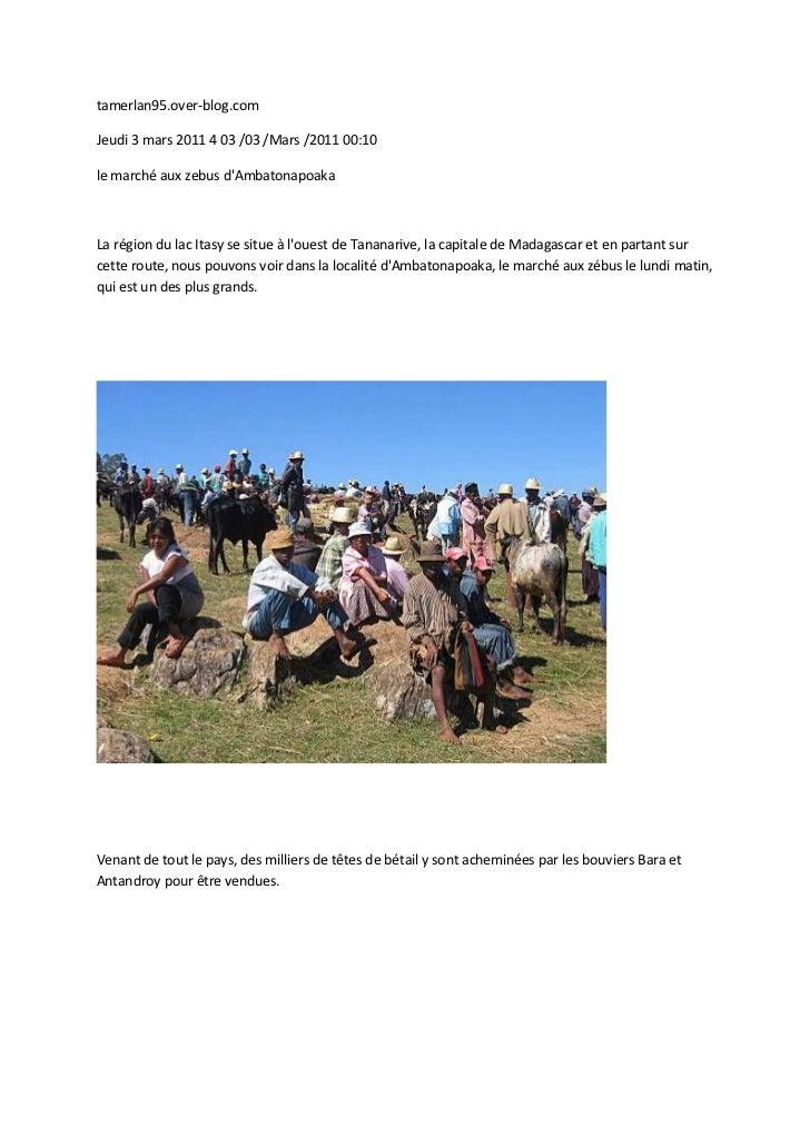 tamerlan95.over-blog.comJeudi 3 mars 2011 4 03 /03 /Mars /2011 00:10le marché aux zebus dAmbatonapoakaLa région du lac Ita...