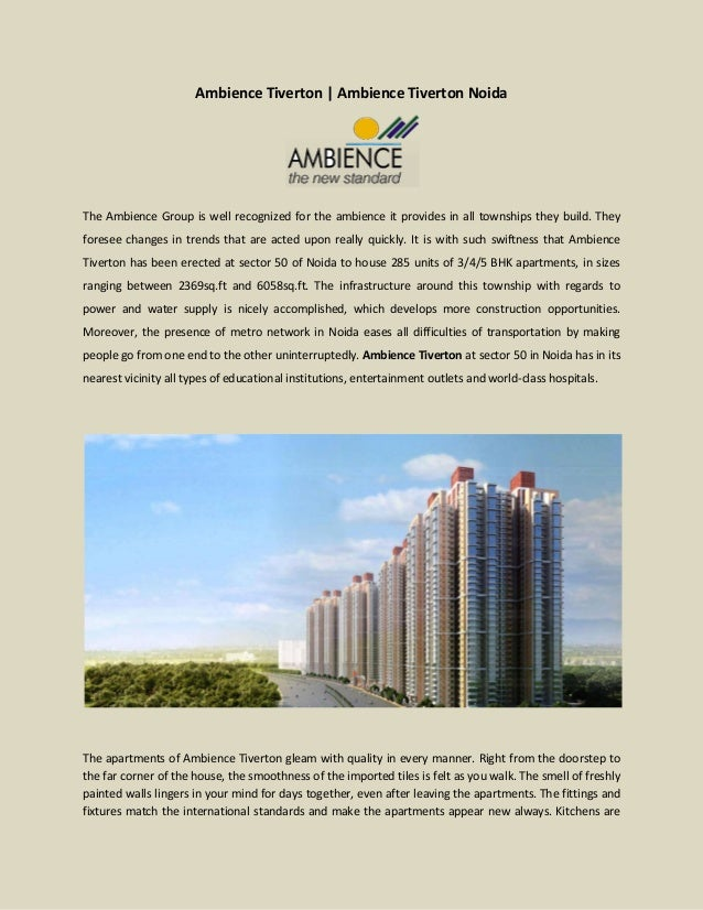 Ambience Tiverton | Ambience Tiverton Noida The Ambience Group is well recognized for the ambience it provides in all town...