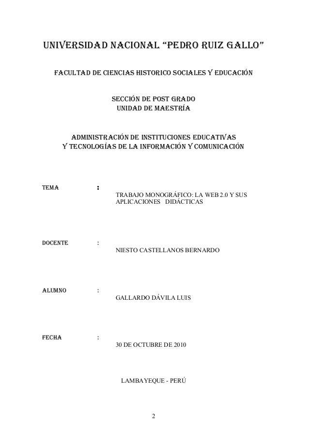 """UNIVERSIDAD NACIONAL """"PEDRO RUIZ GALLO"""" FACULTAD DE CIENCIAS HISTORICO SOCIALES Y EDUCACIÓN SECCIÓN DE POST GRADO UNIDAD D..."""