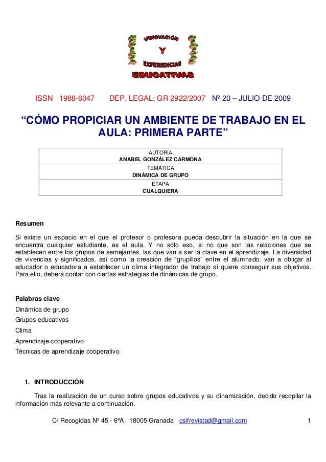 ISSN 1988-6047 DEP. LEGAL: GR 2922/2007 Nº 20 – JULIO DE 2009 C/ Recogidas Nº 45 - 6ºA 18005 Granada csifrevistad@gmail.co...