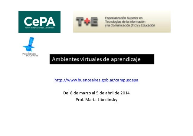 http://www.buenosaires.gob.ar/campuscepa Del 8 de marzo al 5 de abril de 2014 Prof. Marta Libedinsky