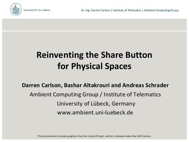 Dr.-Ing. Darren Carlson | Institute of Telematics | Ambient Computing GroupReinventing the Share Buttonfor Physical Spaces...