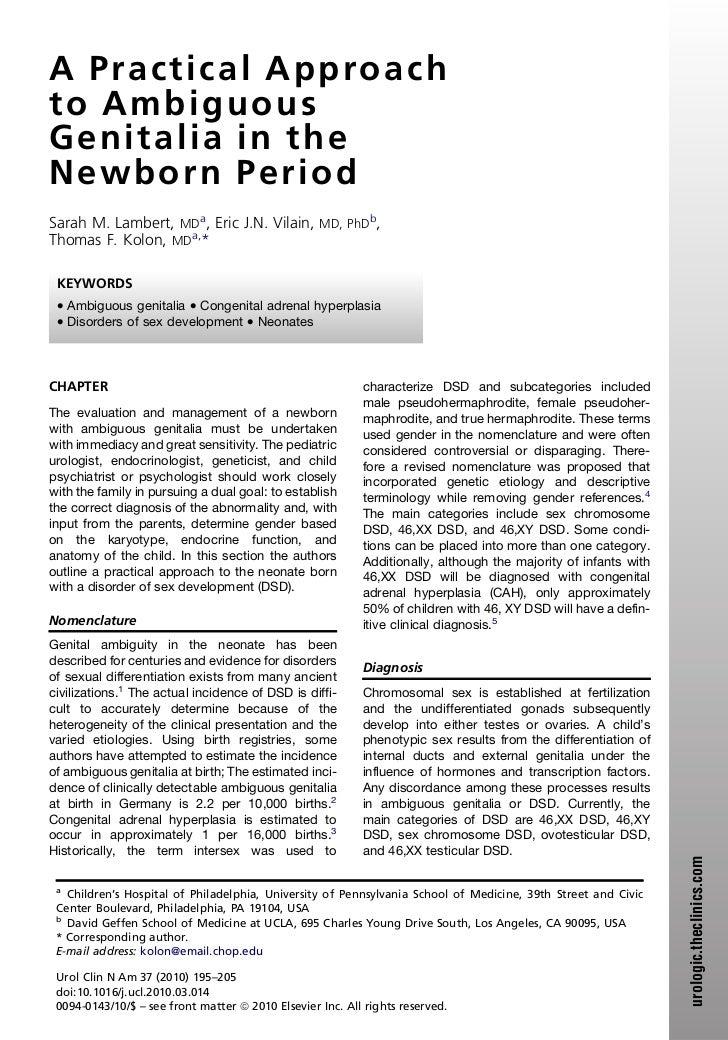 A P r a c t i c a l A p p roa c hto AmbiguousGenitalia i n t heNewborn PeriodSarah M. Lambert, MDa, Eric J.N. Vilain, MD, ...