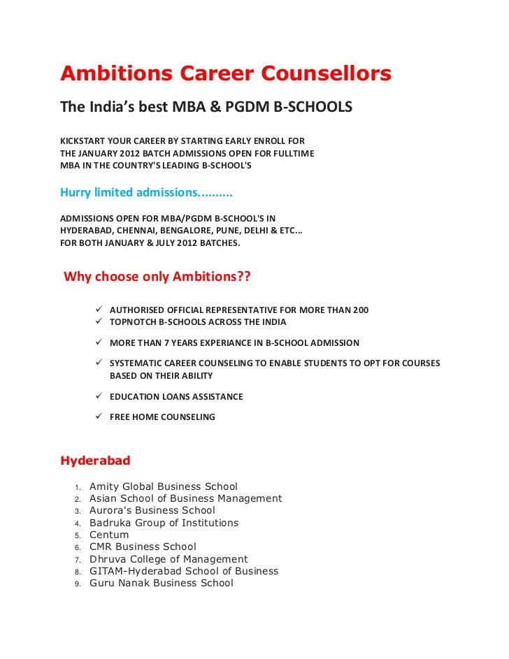 Ambitions Career CounsellorsThe India's best MBA & PGDM B-SCHOOLSKICKSTART YOUR CAREER BY STARTING EARLY ENROLL FORTHE JAN...