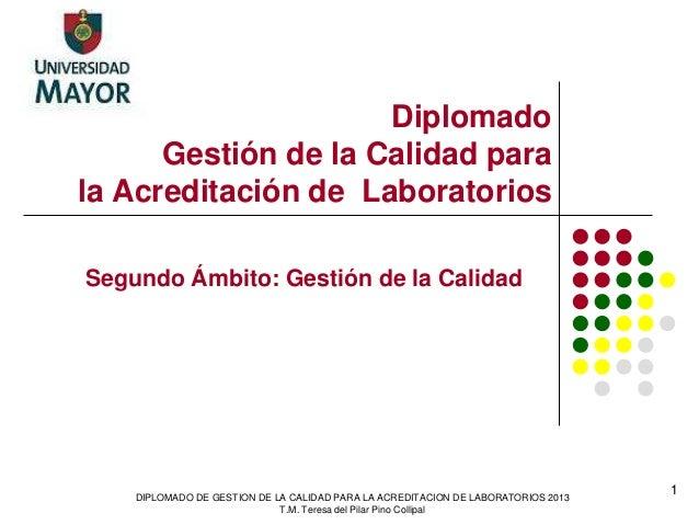 Diplomado Gestión de la Calidad para la Acreditación de Laboratorios Segundo Ámbito: Gestión de la Calidad DIPLOMADO DE GE...