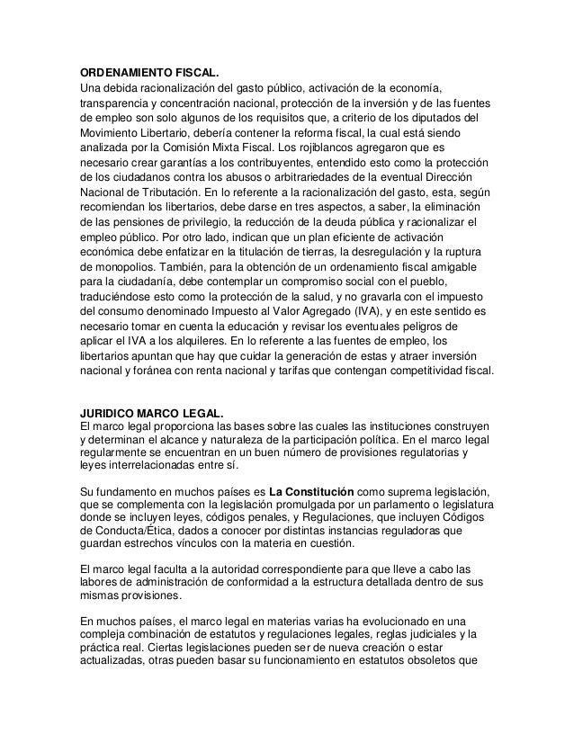 ORDENAMIENTO FISCAL. Una debida racionalización del gasto público, activación de la economía, transparencia y concentració...