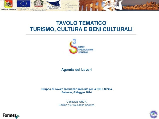 TAVOLO TEMATICO TURISMO, CULTURA E BENI CULTURALI Agenda dei Lavori Gruppo di Lavoro Interdipartimentale per la RIS 3 Sici...