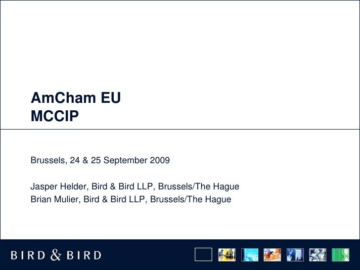 AmCham EU MCCIP<br />Brussels, 24 & 25 September 2009<br />Jasper Helder, Bird & Bird LLP, Brussels/The Hague<br />Brian M...
