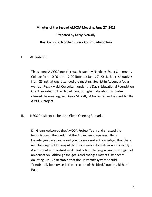 Minutes of the Second AMCOA Meeting, June 27, 2011Prepared by Kerry McNallyHost Campus: Northern Essex Community CollegeI....