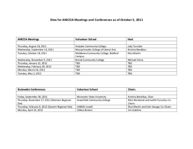 Sites for AMCOA Meetings and Conferences as of October 5, 2011AMCOA Meetings Volunteer School HostThursday, August 18, 201...