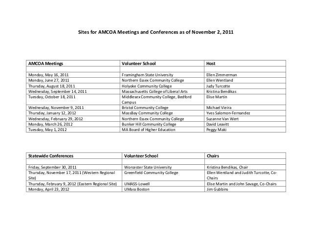 Sites for AMCOA Meetings and Conferences as of November 2, 2011AMCOA Meetings Volunteer School HostMonday, May 16, 2011 Fr...