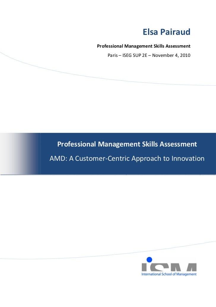 Elsa Pairaud              Professional Management Skills Assessment                  Paris – ISEG SUP 2E – November 4, 201...