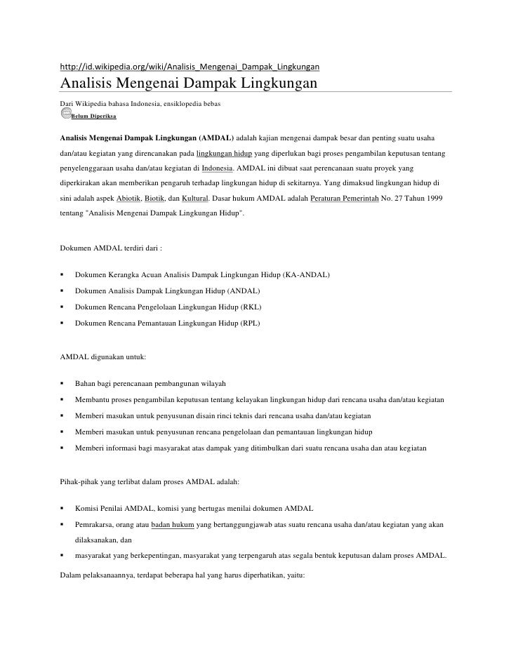 http://id.wikipedia.org/wiki/Analisis_Mengenai_Dampak_LingkunganAnalisis Mengenai Dampak LingkunganDari Wikipedia bahasa I...