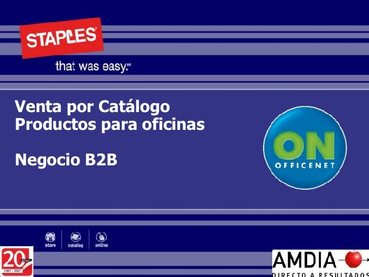 Venta por Catálogo Productos para oficinas Negocio B2B