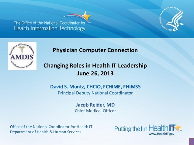 0 Physician Computer Connection Changing Roles in Health IT Leadership June 26, 2013 David S. Muntz, CHCIO, FCHIME, FHIMSS...
