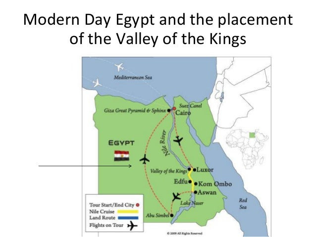 Modern Day Egypt and the placement     of the Valley of the Kings