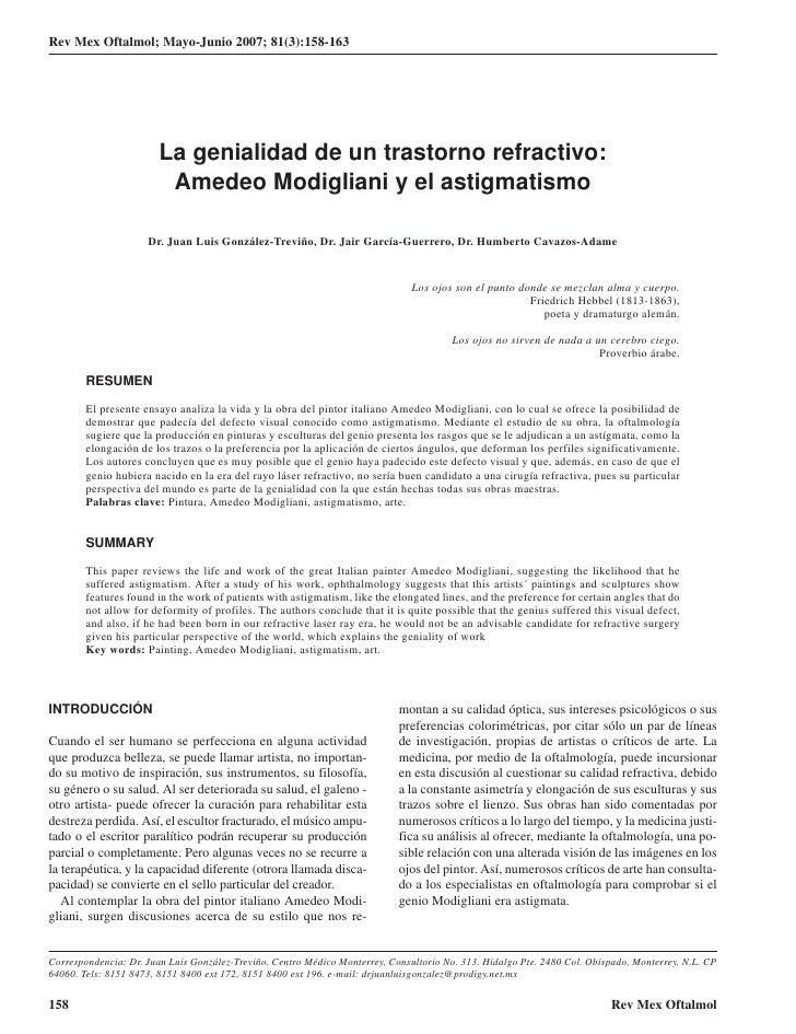 Rev Mex Oftalmol; Mayo-Junio 2007; 81(3):158-163                             La genialidad de un trastorno refractivo:    ...