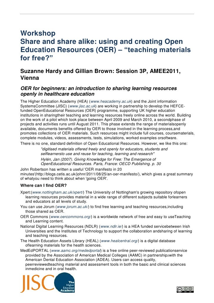 "WorkshopShare and share alike: using and creating Open Education Resources (OER) – ""teaching materials for free?""<br />Suz..."
