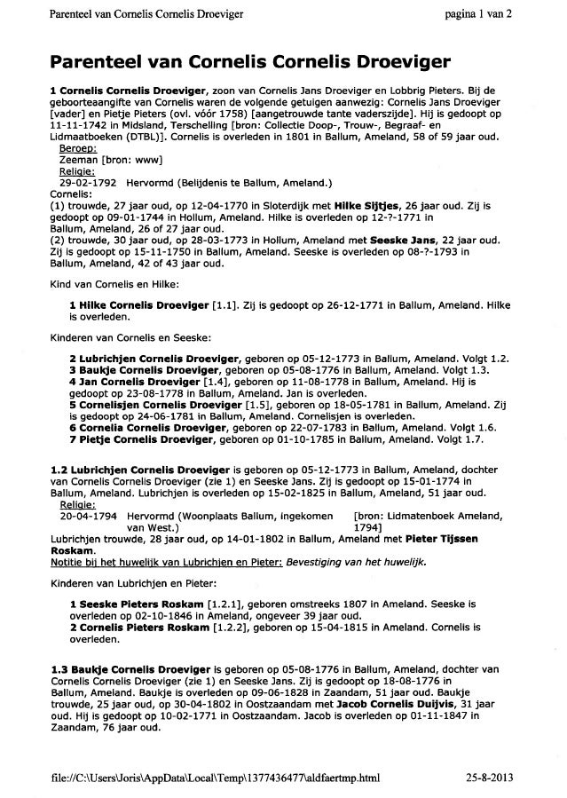 Parenteel van Comelis Cornelis Droeviger pagi;oal van2 Parenteel van Cornelis Cornelis Droeviger 1 Cornelis Cornelis Droev...