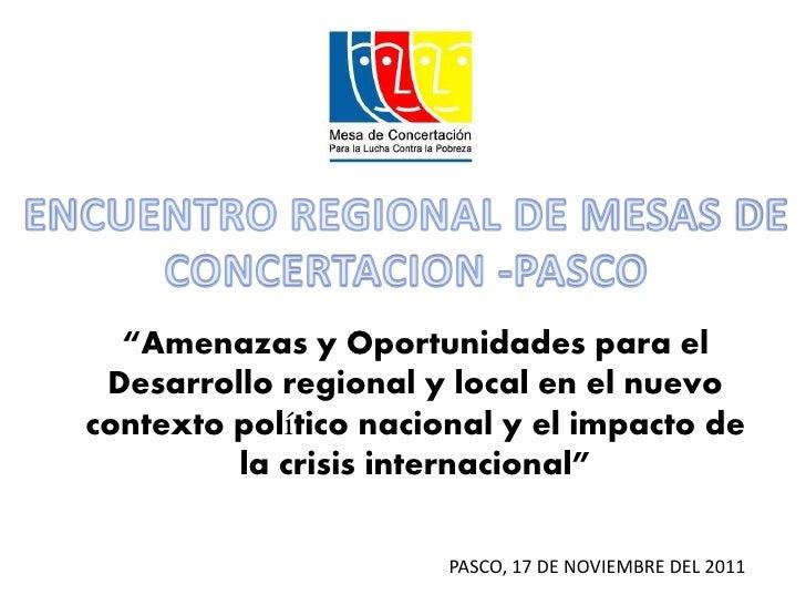 Amenazas y oportunidades para el desarrollo regional y local