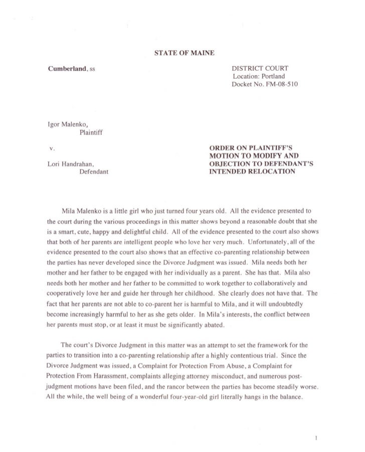 Amended Chid Custody Order 2011