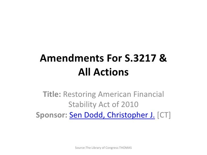 Amendments for S.3217 & All Actions 050410