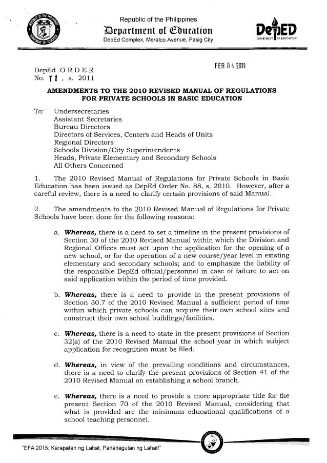 Amendments to the 2010 Revised Manual of Regulations for Private Schools i…