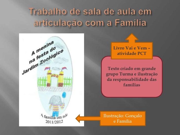 Livro Vai e Vem –      atividade PCT  Texto criado em grande grupo Turma e ilustração da responsabilidade das          fam...