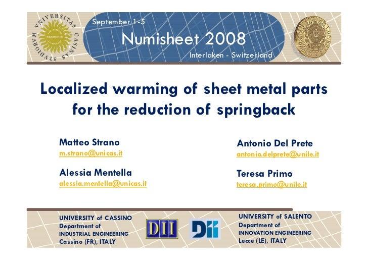 September 1-5                        Numisheet 2008                               Interlaken - SwitzerlandLocalized warmin...