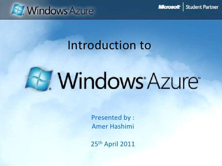 Windows Azure by Amer Hashimi
