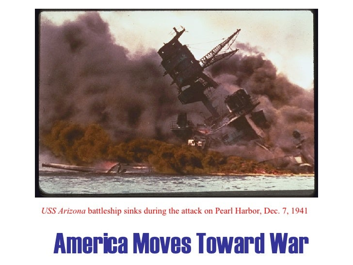 America Moves Toward War USS Arizona  battleship sinks during the attack on Pearl Harbor, Dec. 7, 1941