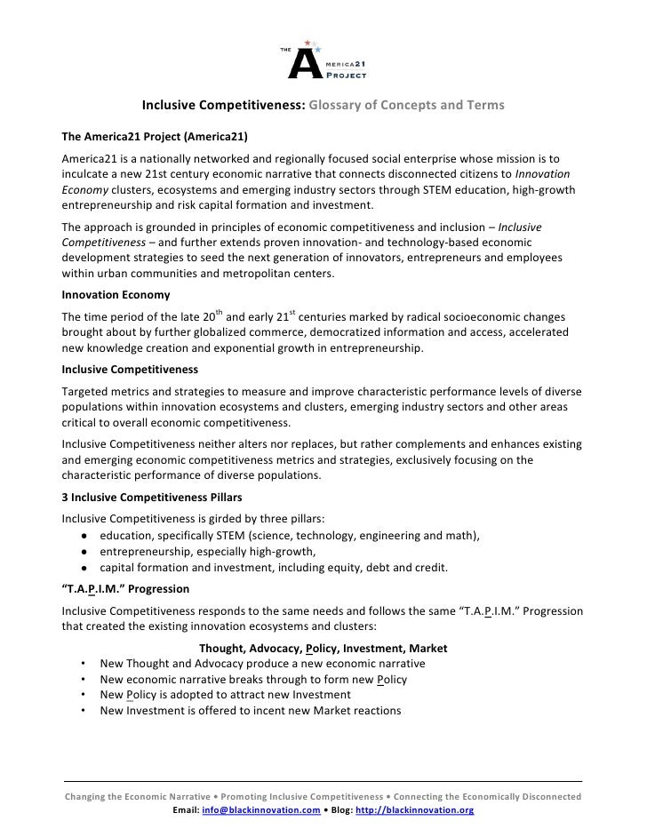 Inclusive Competitiveness: Glossary of Concepts and TermsThe America21 Project (America21)America21 is a nationally networ...