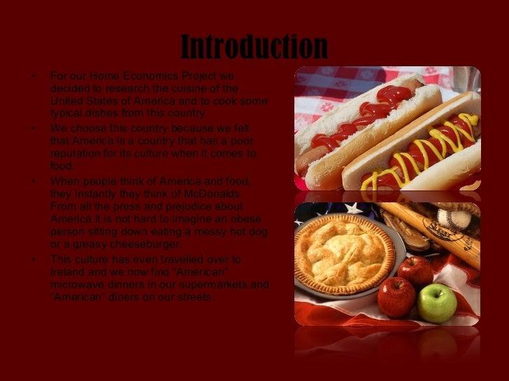 American cuisine for American cuisine presentation