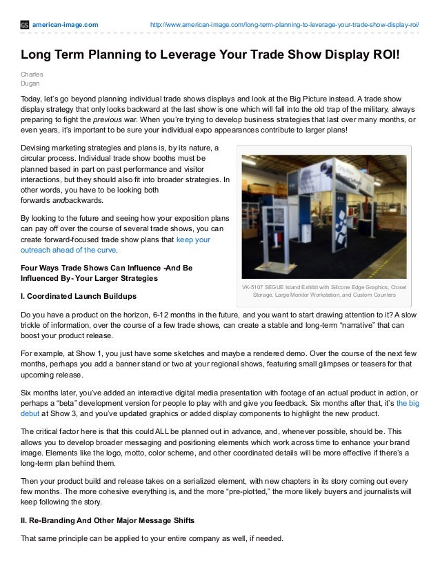 american-image.com http://www.american-image.com/long-term-planning-to-leverage-your-trade-show-display-roi/ VK-5107 SEGUE...