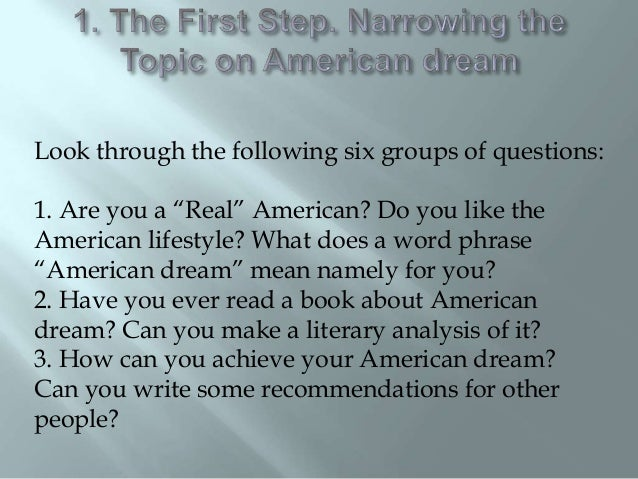 Essay questions about the american dream