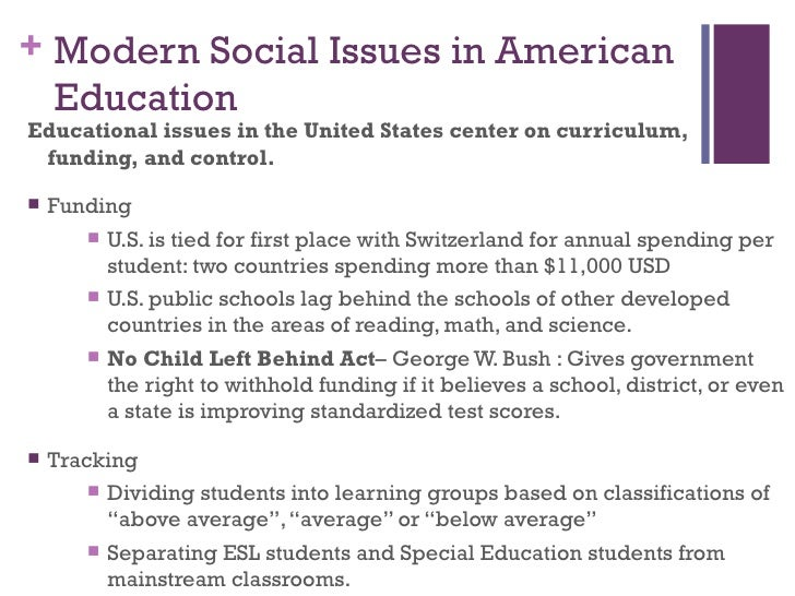essays on social issues in education These pages contain brief but thorough, research-based background essays on important education issues in america today each page includes links to research citations, to definitions of related.