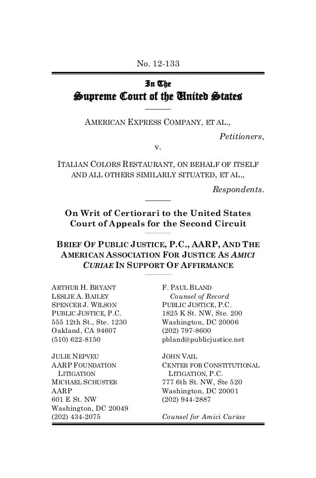 No. 12-133                           In The      Supreme Court of the United States          AMERICAN EXPRESS COMPANY, ET ...